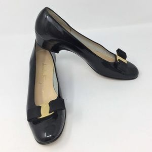 Salvatore Ferragamo Patent Vara Leather Bow Pumps